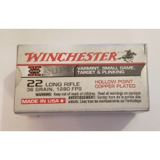 22 Long Rifle Winchester 36-grain copper plated lead hollow point 50 Rd Box