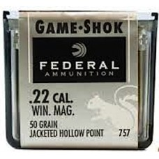 Federal Game-Shok Ammunition 22 Winchester Magnum Rimfire (WMR)(MAG) 50 Grain Jacketed Hollow Point 757 Box of 50