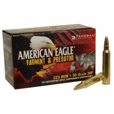 Federal American Eagle Varmint and Predator Ammunition 223 Remington 50 Grain Jacketed Hollow Point 50 Rounds Per Box AE22350VP