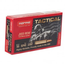 Norma USA 223 Remington Tactical Ammo 55 Grain Full Metal Jacket 20 Rounds Per Box 295040020