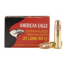 22 Long Rifle Federal American Eagle Ammunition High Velocity 38 Grain Copper Plated Hollow Point  40 RDS. AE22