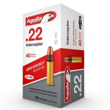 22 Long Rifle Aguila Interceptor Supersonic Ammunition 40 Grain Plated Lead Round Nose Box of 50 1B222320
