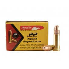 22 Long Rifle Aguila High Velocity Ammunition 40 Grain Plated Lead Round Nose 50 RDS.