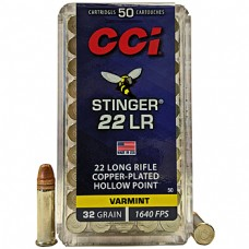 22 Long Rifle CCI Stinger hyper-velocity 32 Grain PLated Lead Hollow Point 50 Rds. 0050