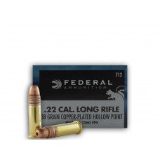 22 Long Rifle Federal Game-Shok 38 gr CPHP Plated Lead Hollow Point(712) 50 Rds. Per Box
