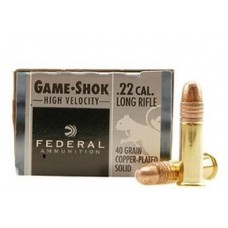 22 Long Rifle Federal Game-Shok Ammunition High Velocity 40 Grain Plated Lead Round Nose 100 Rounds Per Box, #810