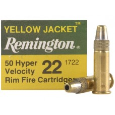 22 Long Rifle Remington Yellow Jacket Ammunition 33 Grain Plated Truncated Cone Hollow Point Hyper Velocity 50 RDS.