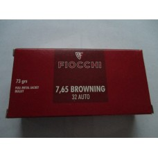Fiocchi Shooting Dynamics Ammunition classic line 32 ACP 73 Grain Full Metal Jacket 50 Rds. Per Box  7,65 Browning