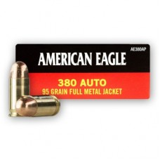 Federal American Eagle Ammunition 380 ACP 95 grain Full Metal Jacket FMJ 50 Rds Per Box AE380AP