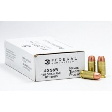 Federal 40 S&W RTP40165 165 Grain Full Metal Jacket 50 Rounds