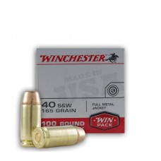 Winchester  40 Smith&Wesson Ammunition 165 grain Full Metal Jacket FMJ Value Pack 100 Rounds Per Box #USA40SWVP