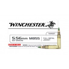 Winchester Ammunition 5.56x45mm NATO 62 Grain Full Metal Jacket Green Tip SS109 Steel Penetrator Tip with Lead Core FMJ 20 Rounds Per Box Q3269 M855