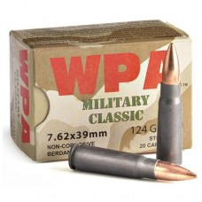 Wolf Military Classic 7.62x39mm Ammo 124 Grain Full Metal Jacket Steel Case MC762FMJ