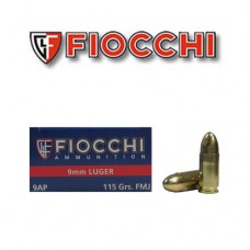 Fiocchi Shooting Dynamics ammunition 9mm Luger Full Metal Jacket Round Nose 115 Grain 50 Rounds Per Box 9AP