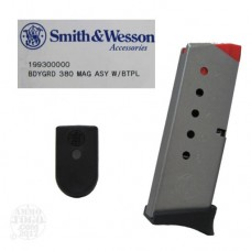 Smith & Wesson Bodyguard 380 acp 6rd Magazine flat and  finger ext base plates 199300000